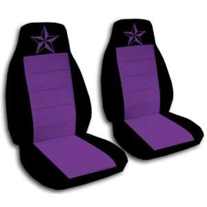 2 black and purple nautical star car seat covers, for a