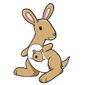 Childrens Wall Decals   Cartoon Mom, Baby Kangaroo   36