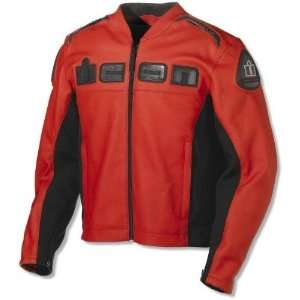 Icon Mens Accelerent Leather Motorcycle Jacket Red Medium M 2810 1266