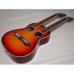 Acoustic Electric Double Neck Guitar, with Case: Musical