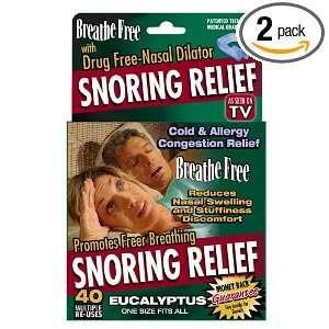 Breathe Free Snoring Relief Drug Free Nasal Dilator, Eucalyptus (Pack