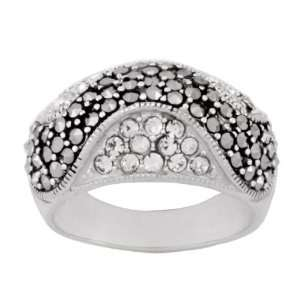 Silver Marcasite Clear Crystal Wave Band Ring, Size 8 Jewelry