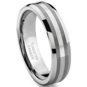 Tungsten Carbide 14K White Gold Inlay Wedding Band Ring Sz 13.0 SN#112