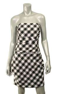 Julie Haus Black & White Checkered Strapless Dress 4