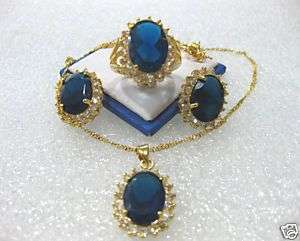 Nobby Blue sapphire CZ necklace earring ring set