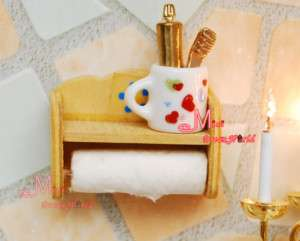 12 Dollhouse Miniature Bathroom Toilet Roll Holder