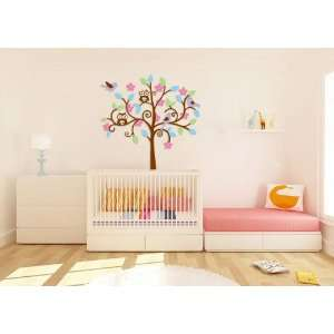Kids Tree Vinyl Wall Decal with 3 Birds 2 Owls