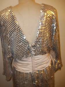 Vintage LILLI DIAMOND Silver Sequined Formal Dress 16