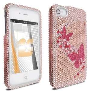 com 3D Pink Butterfly Diamond Crystal Bling Protector Case for Apple