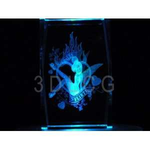 Disney Tinkerbell Naturally Flirty 3D Laser Etched Crystal