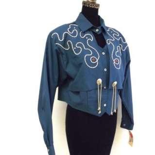 1849 Ranchwear Horse Western Cowboy Show Jacket Blue Teal NWT NEW