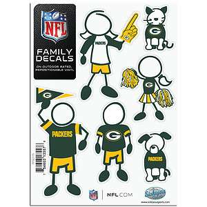 GREEN BAY PACKERS Logo NFL 6 Pack FAMILY 5 x 7 Car Decal Set Small