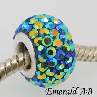 925 Silver Swarovski Crystal Fit European Charm Big Holes Beads