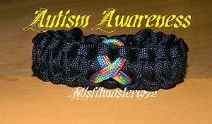 Tactical Autism Awareness Ribbon Paracord Survival Bracelet US