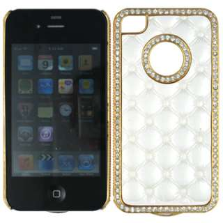 DIAMOND BLING FACEPLATE CASE COVER APPLE IPHONE 4 4S WHITE LEATHER