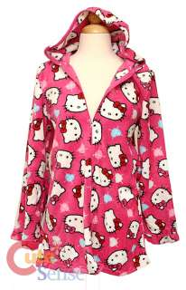 Sanrio Hello kitty Fleece Zippered Robe, Hoody Bath, Swim Cover up