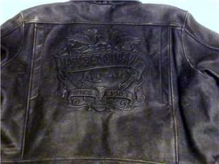 HARLEY DAVIDSON FACTORY DISTRESSED LEATHER MOTORCYCLE BIKER JACKET MEN