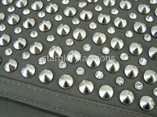gray faux studs crystals purse clutch envelope bag psc 052711