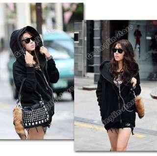 Womens Long Sleeve Cotton Dual Zip Hoodie Jacket Coat Warm Outerwear