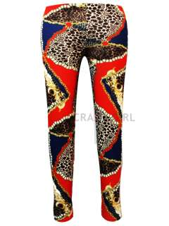 New Womens Girls Paper Animal Leopard Chain Print Full Length Leggings