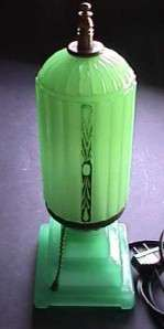 Rare c. 1930s Art Deco Style Pressed Jadeite Green Glass Boudoir