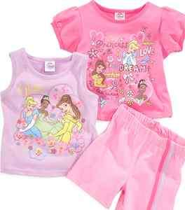 New Girl 3 PC Disney Princesses Tiana Cinderella Belle Shirts + Short