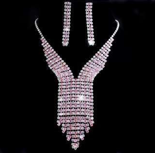 Necktie Rows Pink White Rhinestone Necklace Earring Set