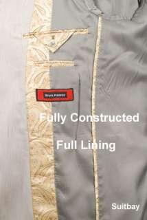 46L Suits   STEVE HARVEY 100% Wool Taupe Striped Mens Suit 46 Long