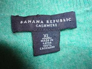 Banana Republic Green Gray Marbled Cashmere S/S Sweater XL