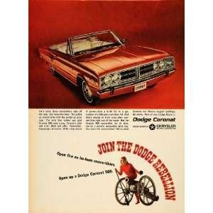 Ad Chrysler Dodge Coronet Convertible Hemi V8   Original Print Ad