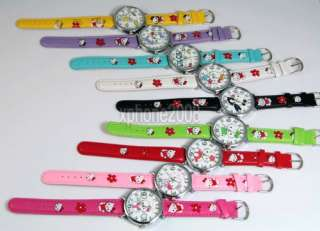 New Cartoon Lovely green HelloKitty Girls Quartz Watch Wrist Band Gift