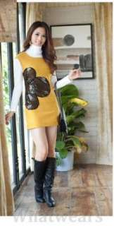 Womens Round Neck Sleeveless Dress Jumper Skirt Z30