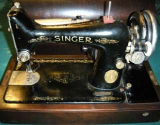 SINGER MODEL 99 99 13 HEAVY DUTY SEWING MACHINE LEATHER BENTWOOD CASE