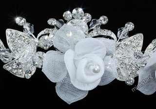 Bridal Handmade White Fabric Crystal Rose Headband Tiara T1469