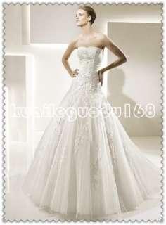 ivory organza applique lace up/zipper wedding bridal dress size Custom