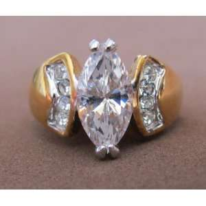 Ladies Fashion RING Size 7 Gold Plated Band w CUBIC Marquise Shape