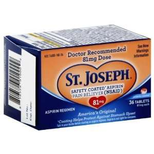 St. Joseph Safety Coated Aspirin Pain Reliever, 81 mg, 36