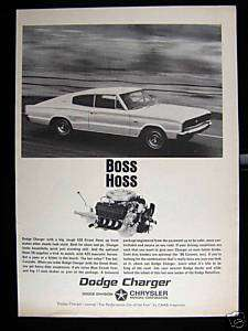 1966 CHRYSLER DODGE CHARGER BOSS HOSS CAR PRINT AD