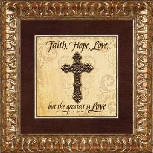 Framed Christian Art Faith, Hope, Love