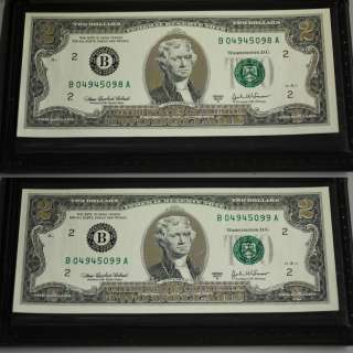 Consecutive 22K Gold $2 Two Dollar Bill Federal Reserve Notes