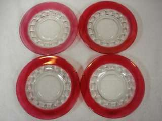 LOT OF 4 KINGS CROWN RUBY FLASH DESSERT SALAD PLATES TIFFIN INDIANA