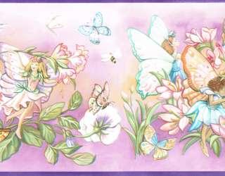 BEAUTIFUL FAIRIES BUTTERFLIES FLOWER GARDEN Wallpaper bordeR Wall