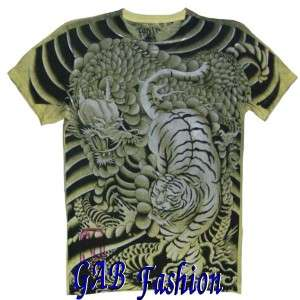 Ronin Bengal Tiger Dragon Samurai Warrior Tattoo Mens T Shirt M / L