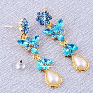 Blue Flower Drop Rhinestone Imitate Pearl Golden Necklace Dangle