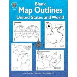 Blank Map Outlines, United States and World, Grades 3   6