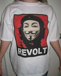 Che Guevara Red REVOLT T shirt Anonymous Occupy Wall Street