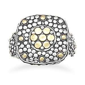 Silver and 14 Karat Gold Plated Oxidized Dot Design Ring (8) Jewelry