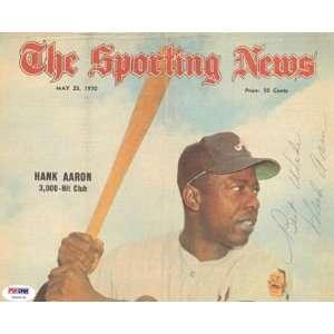 Hank Aaron Vintage Autographed Sporting News Magazine