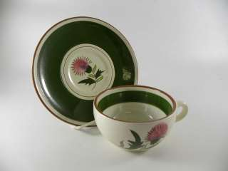Stangl Thistle Cups, Saucers   Pink, Purple, Greens