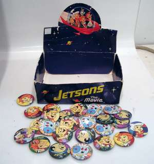 Lot of 25 JETSONS The Movie Button/Pins & Box